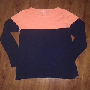 Iilly pulitzer colorblock sweater XL navy coral